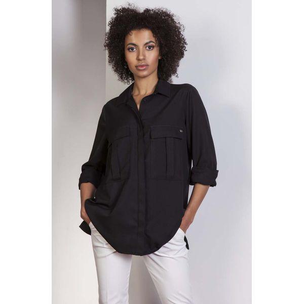 9886569c17 Czarna Koszula Oversize z Kieszeniami - Koszule damskie marki Molly ...