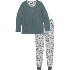 Piżama bonprix zielony eukaliptusowy - biel wełny z nadrukiem. Piżamy damskie marki MAKE ME BIO. Za 74.99 zł.
