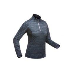 Koszulka turystyczna długi rękaw SH500 warm damska. Szare t-shirty damskie QUECHUA, ze stójką. Za 49.99 zł.