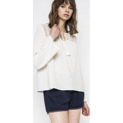 Roxy - Bluzka. Szare bluzki damskie Roxy, z bawełny, casualowe, z okrągłym kołnierzem. W wyprzedaży za 159.90 zł.
