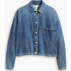 """Dżinsowa bluzka """"Midori"""" w kolorze niebieskim. Niebieskie bluzki damskie Levi's, z bawełny, z klasycznym kołnierzykiem. W wyprzedaży za 173.95 zł."""