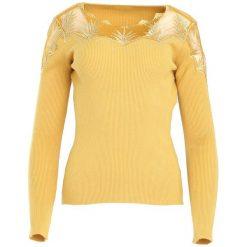 Żółty Sweter Do Not Wait. Żółte swetry damskie Born2be, z dzianiny. Za 79.99 zł.