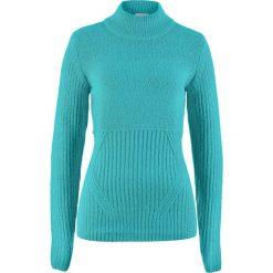 Sweter ze stójką bonprix zieleń morska. Zielone swetry damskie bonprix, ze stójką. Za 74.99 zł.