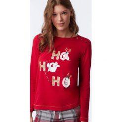 Etam - Bluzka piżamowa Octave. Czerwone koszule nocne damskie Etam, z nadrukiem, z bawełny. Za 89.90 zł.
