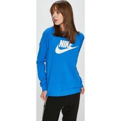 Nike Sportswear - Bluza. Niebieskie bluzy damskie Nike Sportswear, z nadrukiem, z bawełny. Za 239.90 zł.