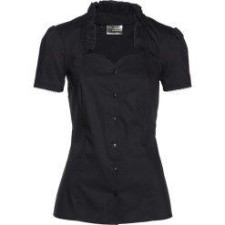 Bluzka w rustykalnym stylu bonprix czarny. Czarne bluzki damskie bonprix, w koronkowe wzory, z koronki, z falbankami. Za 59.99 zł.