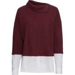 Sweter z koszulową wstawką bonprix ciemny jeżynowy. Swetry damskie marki bonprix. Za 79.99 zł.