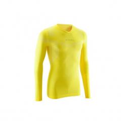 Koszulka termoaktywna długi rękaw dla dorosłych Kipsta Keepdry 500. Żółte koszulki sportowe męskie KIPSTA, z elastanu, z długim rękawem. Za 49.99 zł.
