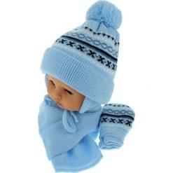 Czapka niemowlęca z szalikiem i rękawiczkami 013D niebieska. Czapki dla dzieci marki Pulp. Za 45.90 zł.