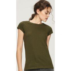 T-shirt Basic - Khaki. Brązowe t-shirty damskie Sinsay. Za 9.99 zł.