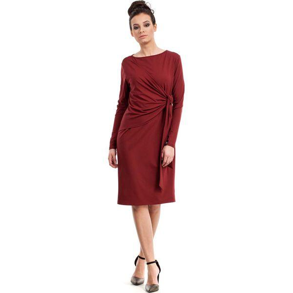 200c85e583 Bordowa Sukienka Elegancka z Asymetryczną Nakładką - Sukienki ...