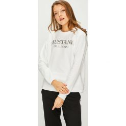 Mustang - Bluza. Szare bluzy damskie Mustang, z nadrukiem, z bawełny. W wyprzedaży za 159.90 zł.