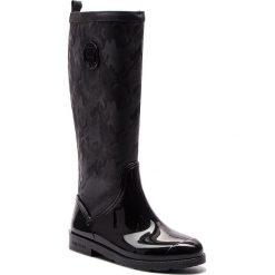 Kalosze TOMMY HILFIGER - Shiny Camo Long Rain FW0FW03602 Black 990. Czarne kozaki damskie Tommy Hilfiger, ze skóry ekologicznej. Za 599.00 zł.