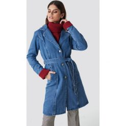 NA-KD Długa kurtka jeansowa - Blue. Niebieskie kurtki damskie NA-KD, w paski, z denimu. Za 283.95 zł.