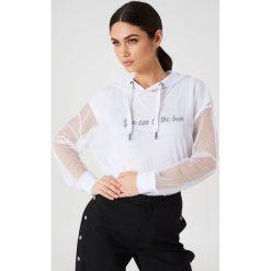 Rut&Circle Siateczkowa bluza oversize z kapturem - White. Białe bluzy damskie Rut&Circle, z poliesteru. W wyprzedaży za 60.98 zł.
