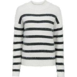 Sweter dzianinowy bonprix biel wełny - antracytowy w paski. Swetry damskie marki bonprix. Za 59.99 zł.