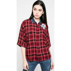 Diesel - Koszula. Szare koszule damskie Diesel, z bawełny, casualowe, z klasycznym kołnierzykiem, z krótkim rękawem. W wyprzedaży za 359.90 zł.