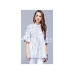 Luźna koszulowa bluzka beż.paski H011. Niebieskie bluzki damskie Harmony, w paski, z bawełny, z koszulowym kołnierzykiem. Za 147.00 zł.