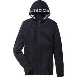Sweter z kapturem Slim Fit bonprix czarny. Swetry przez głowę męskie marki Giacomo Conti. Za 99.99 zł.