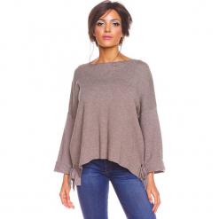 """Sweter """"Sonia"""" w kolorze szarobrązowym. Brązowe swetry damskie So Cachemire, z kaszmiru, z asymetrycznym kołnierzem. W wyprzedaży za 173.95 zł."""