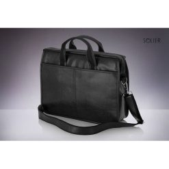 Torba Solier Czarna męska torba na ramię, laptopa SOLIER LUCAS. Czarne torby na laptopa męskie Solier. Za 149.50 zł.