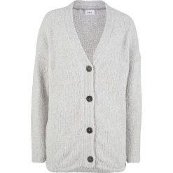 Sweter rozpinany z puszystej przędzy bonprix jasnoszary melanż. Kardigany damskie marki bonprix. Za 59.99 zł.