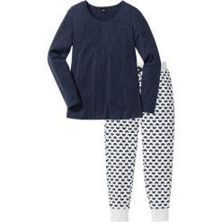 Piżama, bawełna organiczna bonprix ciemnoniebieski - naturalny melanż z nadrukiem. Piżamy damskie marki bonprix. Za 74.99 zł.