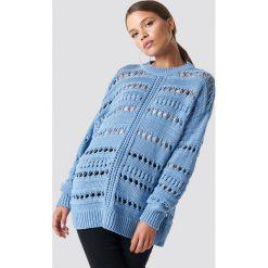 MANGO Sweter ażurowy - Blue. Niebieskie swetry damskie Mango, z dzianiny. Za 161.95 zł.