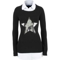 Sweter 2 w 1 z koszulową wstawką, długi rękaw bonprix czarny. Swetry damskie marki bonprix. Za 119.99 zł.