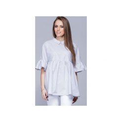 Luźna koszulowa bluzka wzorzysta  H011. Szare bluzki damskie Harmony, z bawełny, z koszulowym kołnierzykiem. Za 147.00 zł.