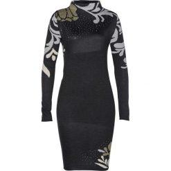 Sukienka dzianinowa bonprix czarny. Czarne sukienki damskie bonprix, z dzianiny, ze stójką. Za 129.99 zł.