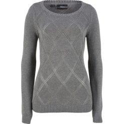 Sweter w ażurowy wzór bonprix szary melanż. Swetry damskie marki bonprix. Za 37.99 zł.