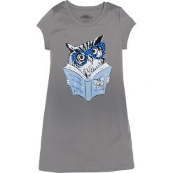 Koszula nocna bonprix szary z nadrukiem. Szare koszule nocne damskie bonprix, z nadrukiem, z materiału. Za 34.99 zł.