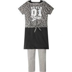 """Shirt """"boxy"""" + sukienka + legginsy (3 części) bonprix jasnoszary melanż - czarny. Legginsy dla dziewczynek bonprix, melanż, z długim rękawem. Za 49.99 zł."""