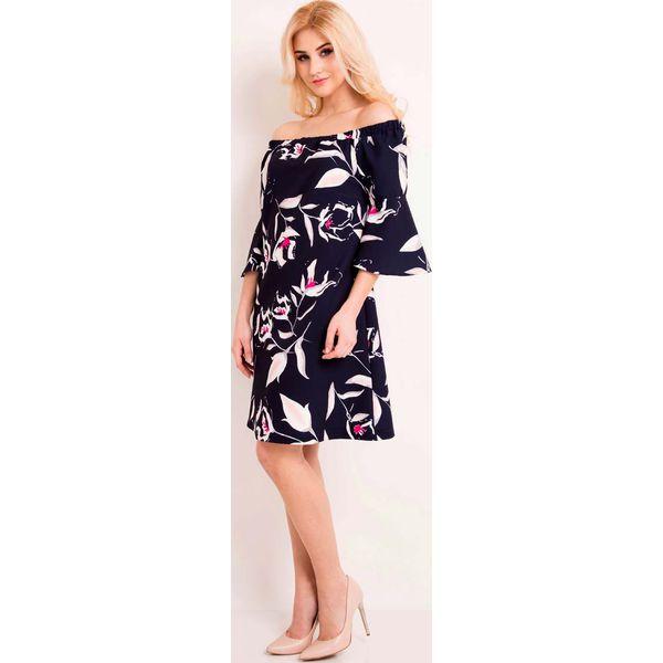 0c9b4233986680 Granatowa Sukienka Wzorzysta w Hiszpańskim Stylu - Sukienki damskie ...
