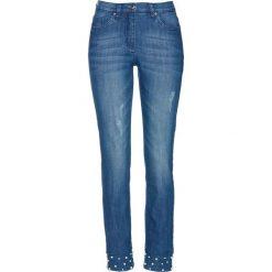 """Dżinsy 7/8 z perełkami bonprix niebieski """"stone"""". Niebieskie jeansy damskie bonprix. Za 109.99 zł."""