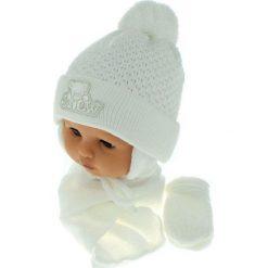 Czapka niemowlęca z szalikiem i rękawiczkami CZ+S+R 011D biała. Czapki dla dzieci marki Reserved. Za 45.90 zł.