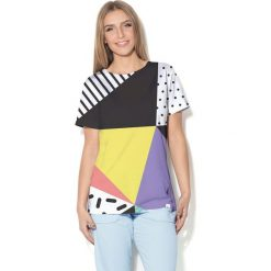 Colour Pleasure Koszulka CP-030  24 czarno-żółto-biała r. XL/XXL. Bluzki damskie Colour Pleasure. Za 70.35 zł.