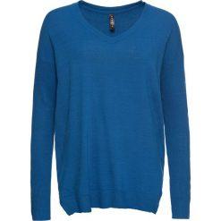 Sweter z dużym dekoltem w serek bonprix niebieski. Swetry damskie marki bonprix. Za 59.99 zł.