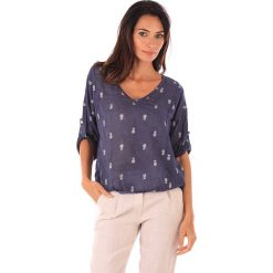 Lniana koszulka w kolorze granatowym. T-shirty damskie 100% Leinen, klasyczne. W wyprzedaży za 83.95 zł.