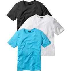 T-shirt (3 szt.) bonprix biały + turkusowy + czarny. Białe t-shirty męskie bonprix, z okrągłym kołnierzem. Za 83.97 zł.
