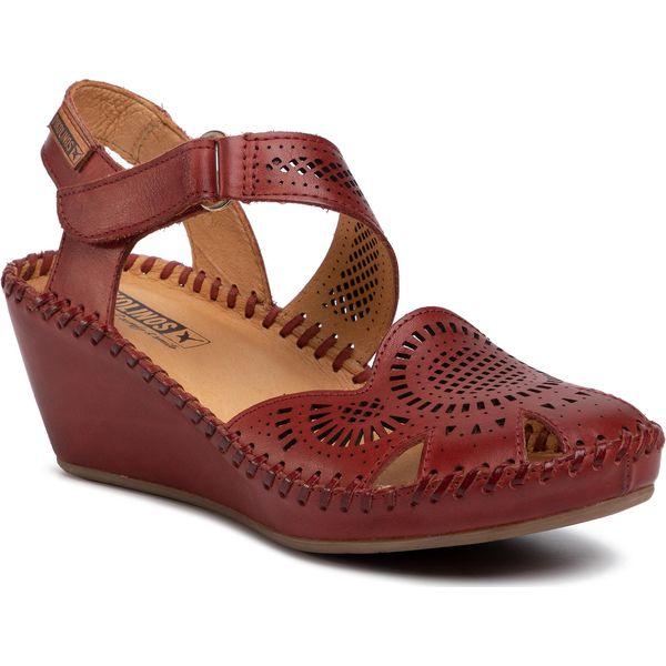 Pikolinos sandały damskie czerwone bez obcasa skÓrzane na