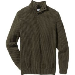 Sweter Slim Fit bonprix ciemnooliwkowy. Swetry przez głowę męskie marki Giacomo Conti. Za 89.99 zł.