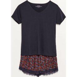 Piżama z szortami - Granatowy. Niebieskie piżamy damskie Reserved. Za 79.99 zł.