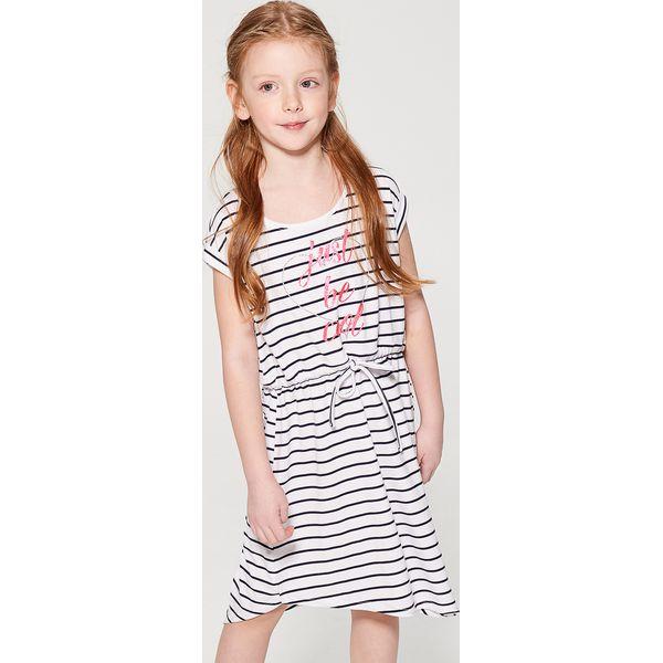 3db5bd3289 Sukienka z wiązaniem w pasie dla dziewczynki little princess - Biały ...