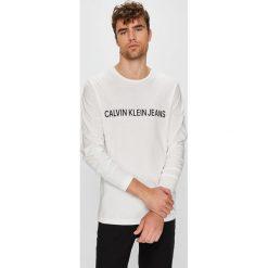 Calvin Klein Jeans - Longsleeve. Szare bluzki z długim rękawem męskie Calvin Klein Jeans, z nadrukiem, z bawełny, z okrągłym kołnierzem. Za 199.90 zł.