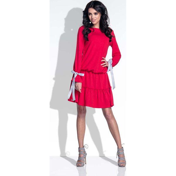 a11a4bd798 Czerwona Sukienka z Falbanką i Kokardkami - Sukienki damskie marki ...