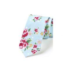 Krawat męski ROSES. Niebieskie krawaty i muchy Hisoutfit, z materiału. Za 129.00 zł.