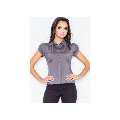 Koszula M026 Szary. Szare koszule damskie Figl, z bawełny, klasyczne, z klasycznym kołnierzykiem, z krótkim rękawem. Za 73.00 zł.