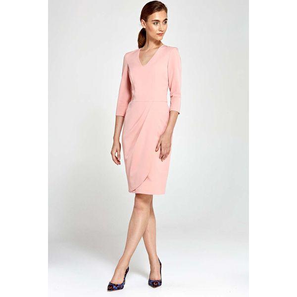 1fd56f6719b98 Różowa Sukienka z Asymetrycznym Drapowaniem - Sukienki damskie marki ...